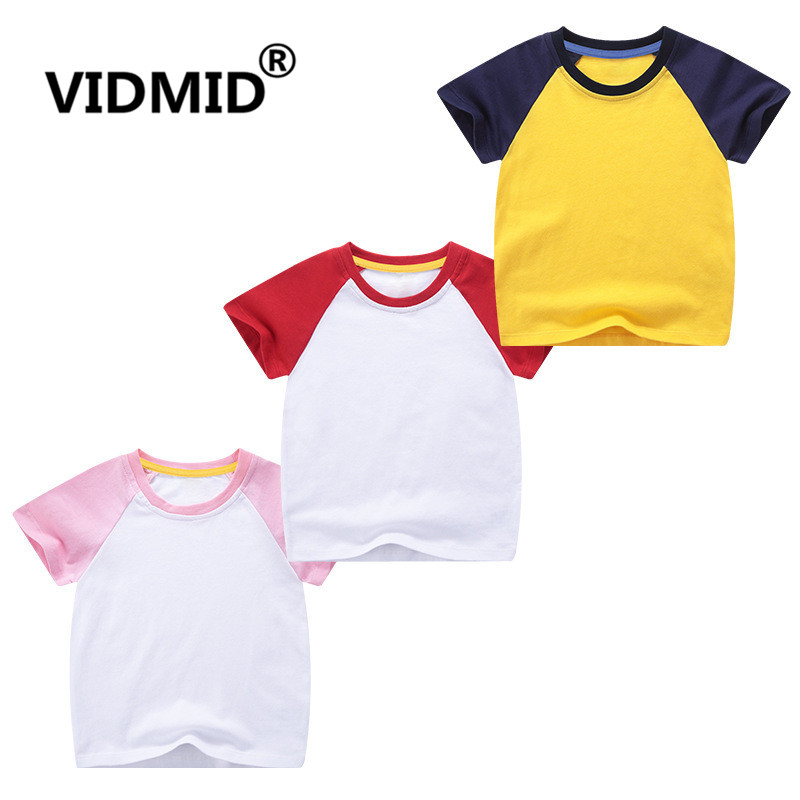 VIDMID boys girls short sleeve t-shirts tees kids cotton clothes tops t-shirts boys candy color tees tops children tees 7042 03 1