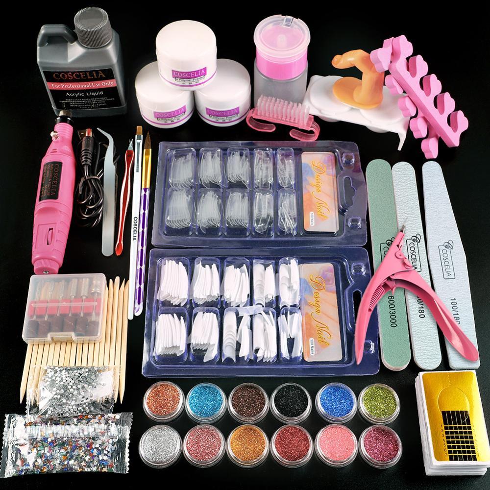 Акриловый порошок COSCELIA со склада в США, набор типсов для ногтей, инструменты для маникюра, набор кистей для ногтей, профессиональный набор д...