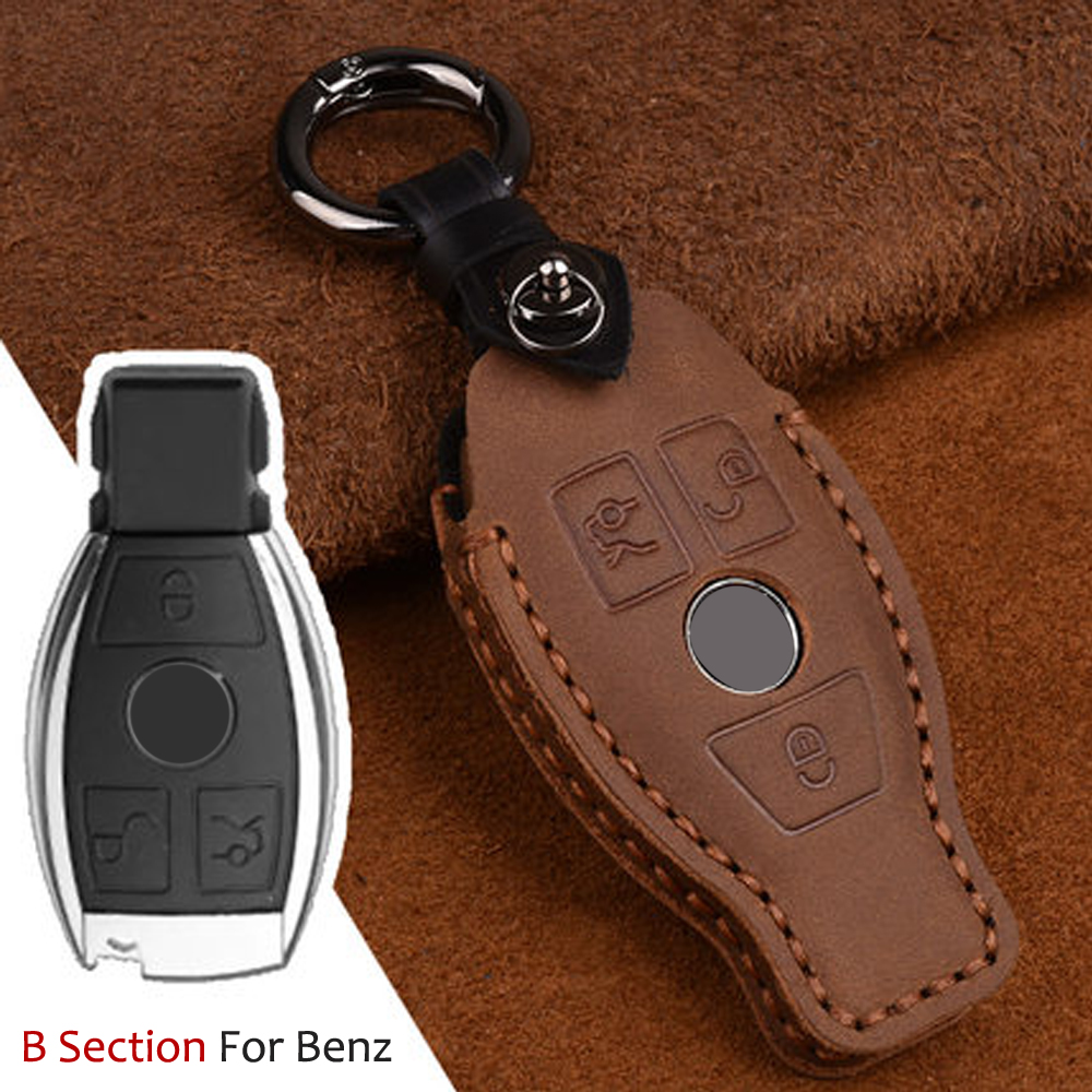 High quality Leather 3 Button Smart <font><b>Remote</b></font> <font><b>Key</b></font> Case Fob Cover Holder For Mercedes benz W210 W211 W212 <font><b>W124</b></font> W176 W202 W205 GLK image