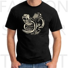 Camisa de manga curta de manga curta redonda com moto de moto guzi31310t