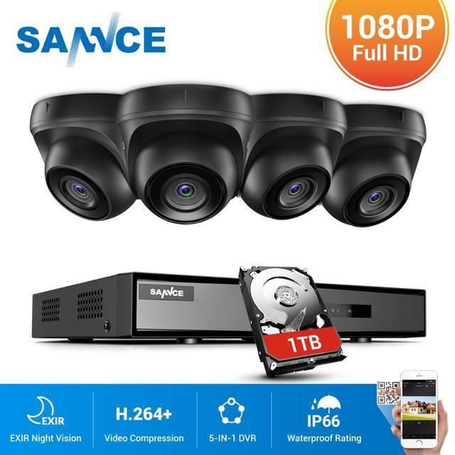 Sannce 4CH 1080N hdmi dvr cctv システム 4 個 1080 1080p セキュリティカメラ ir 屋内防水屋外ビデオ監視 cctv キット