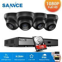 Sannce 4ch 1080n hdmi dvr cctv sistema, 4 peças 1080p câmeras de segurança ir, vigilância externa e à prova d água, para uso externo kit de