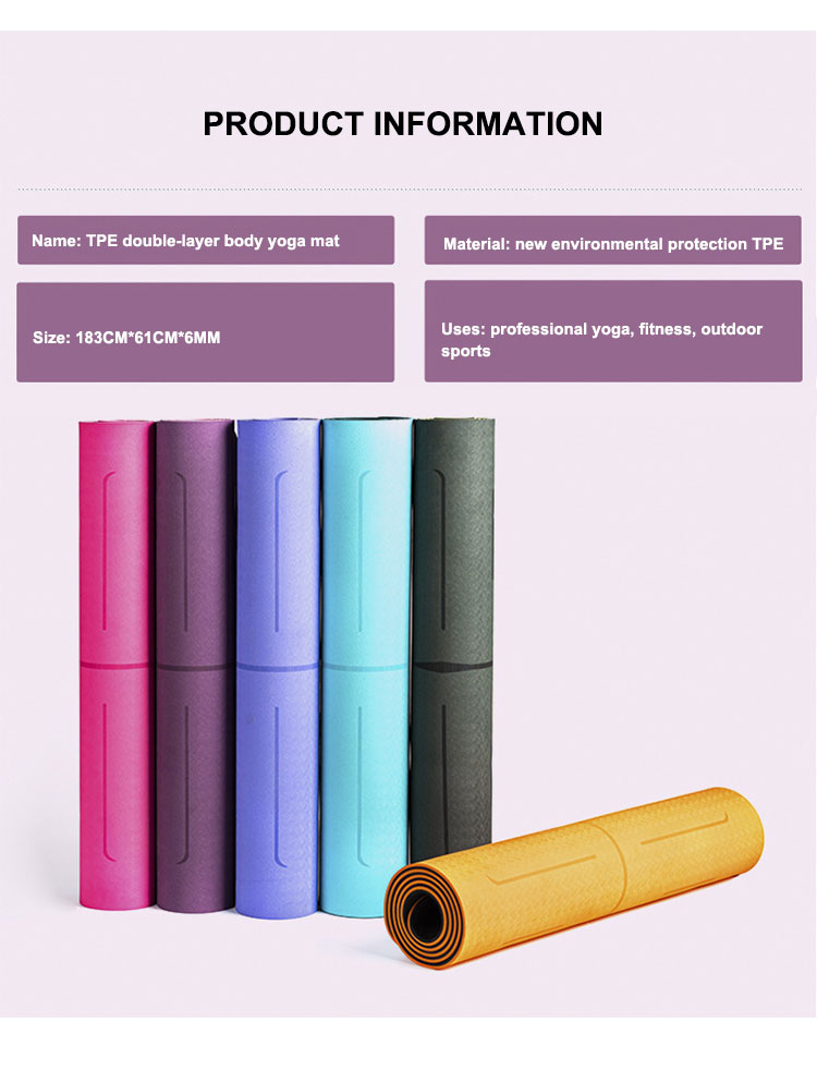 double layered yoga mat with position line (6mm), carry, yoga, strong, resilience, nbsp, long, about, 0, grams, good - Hb06c480b548e445e955d4a028a862fbex - Double layered Yoga Mat with Position Line (6mm) - Fititudestore