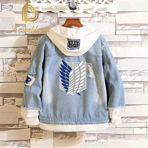 Image 2 - Распродажа, джинсовая куртка «атака на Титанов», джинсовая куртка для косплея разведчика, джинсовая куртка, Осень зима