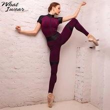 Kadın tulum zarif spor sıska Patchwork kadın elastik kısa kollu tam Fength Polyester Bodycon fermuar yeni