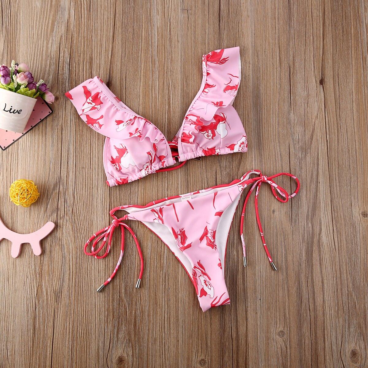Hirigin Sexy Flower Bikini Set Women Swimming Suit Ruffles Pink Swimwear 2020 New Push Up Padded Swimsuit Bathing Suit  Summer