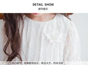 Image 5 - Menina vestido de manga longa branco vestidos de renda para meninas floral bonito vestido de princesa crianças primavera verão vestido de festa roupas