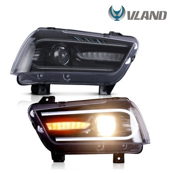 VLAND Headlamp Car Headlights Assembly for Dodge Charger 2011-2014 Head light with moving turn signal light DRL Dual beam lens