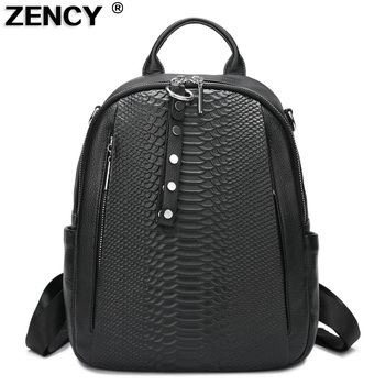 ZENCY 100% Italian Genuine Leather Calfskin Silver Accessories Women's Backpack Lady First Layer Cowhide Female School Book Bags