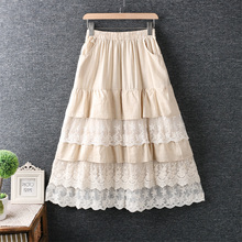 Autumn Skirt Lace Patchwork Japanese-Style Lolita Vintage Long Cotton Kawaii-Layers Saia