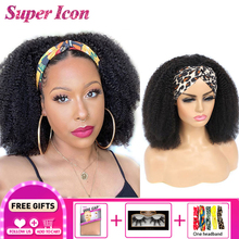 Curly Headband Human-Hair Wig Afro Kinky Full-Machine 180%Density Peruvians No-Glue Super-Icon