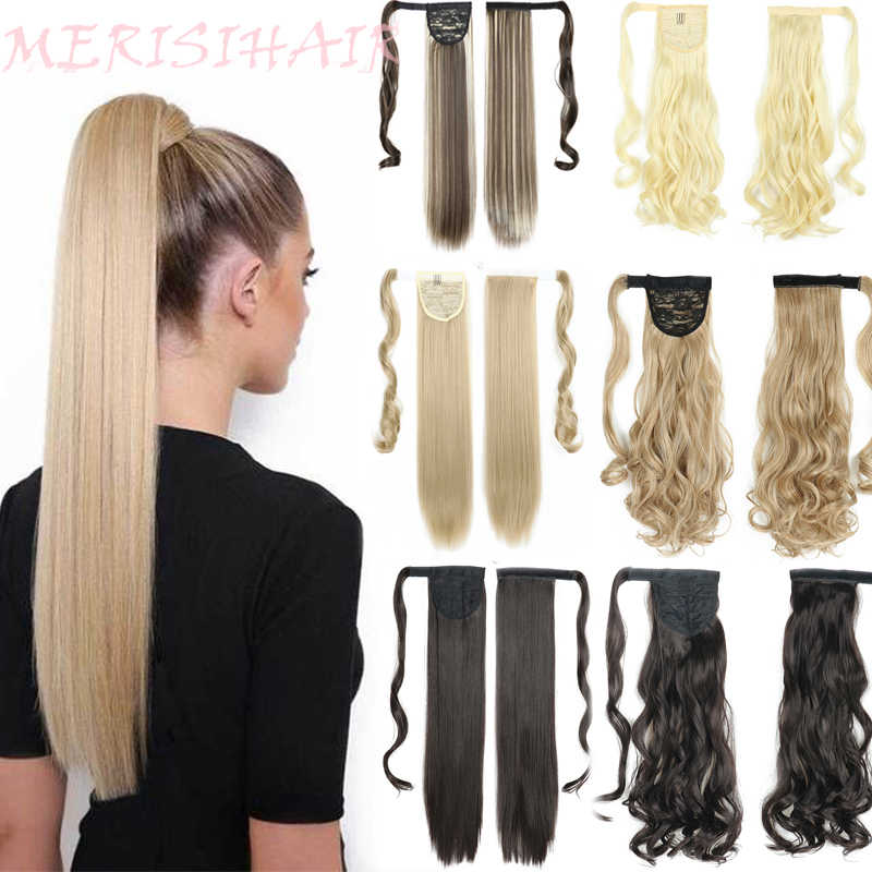 Merisihair Lange Rechte Wrap Around Clip In Paardenstaart Hair Extension Hittebestendige Synthetische Pony Tail Fake Hair
