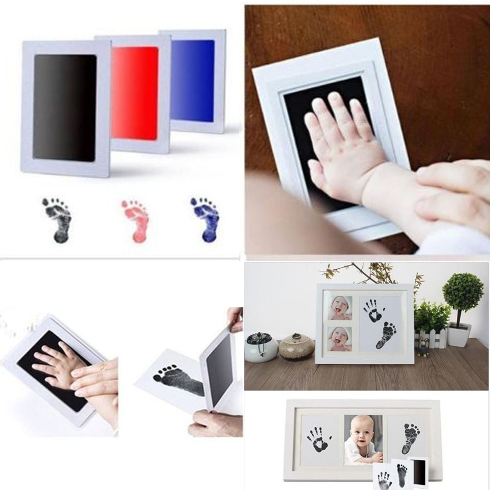 Baby Paw Print Pad Foot Photo Frame Touch Ink Pad Baby Items Souvenir Gifts 1 printing oil +2 sheets of paper