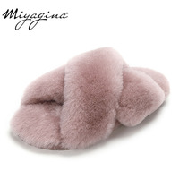 MIYAGINA 100% Natural Sheepskin Fur Slippers Fashion Female Winter Slippers Women Warm Indoor Slippers Soft Wool Lady Home Shoes