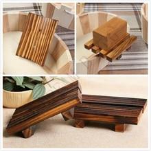 Jabonera de madera Natural, jabonera de estilo clásico, jabonera negra portátil para baño, plato de ducha, Baño