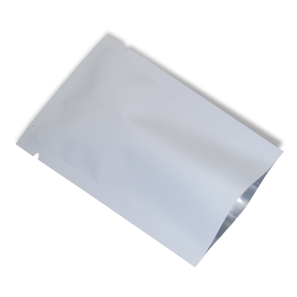 Matte White Aluminum Foil Bag Open Top Heat Sealable Mylar Foil Package Bags Powder Sample Vacuum Packing Bags Retail