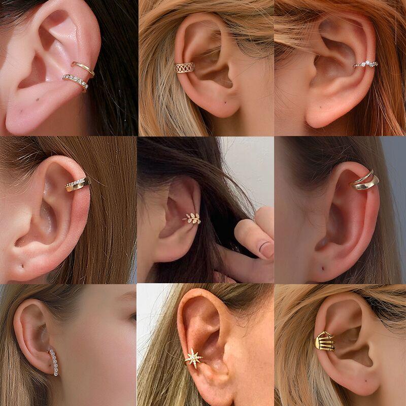 Earrings Jewelry Ear-Clip Metal-Line Geometric-Circle No-Piercing Gold-Silver-Color Women