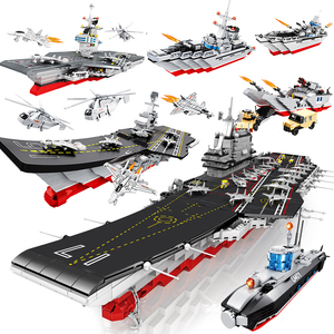 Hsanhe military Compatible Submarine aircrafted carrier model building blocks brick navy battle ship boat warship