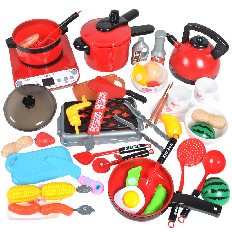 Kids Kitchen Toys For Children Pretend Play Girls Toys Kitchenware Play Set Miniature Kitchen Pots Pans Kettle Faked Food Gifts