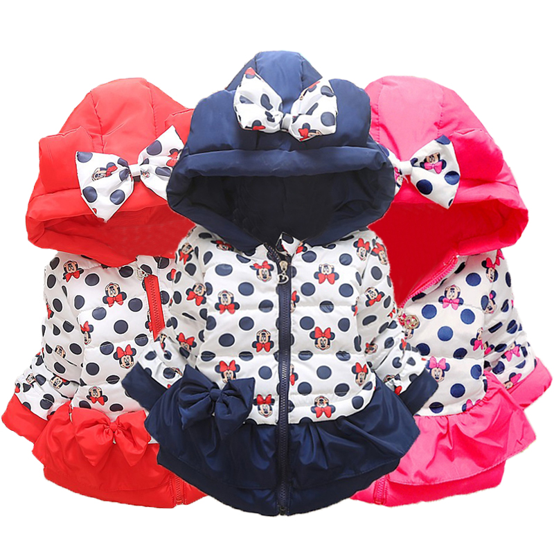 Girls Mickey Minnie Jacket Cotton Warm Jacket For Baby Girls Winter Hoodies Girls Coat Lovely Kids Outerwear Children Clothing