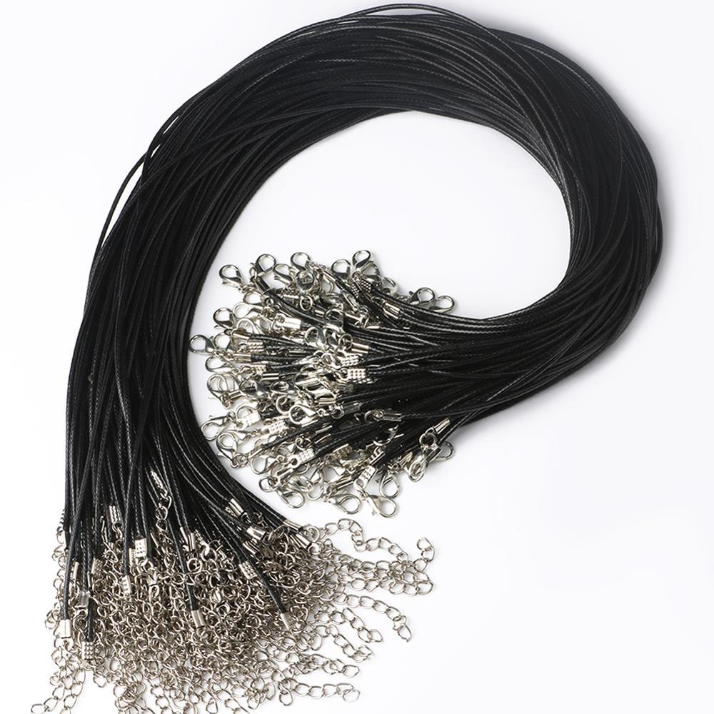 20 adet 45cm örgülü ayarlanabilir siyah deri halat balmumu kordon DIY el yapımı kolye kolye ıstakoz kanca dize kordon takı zincirleri