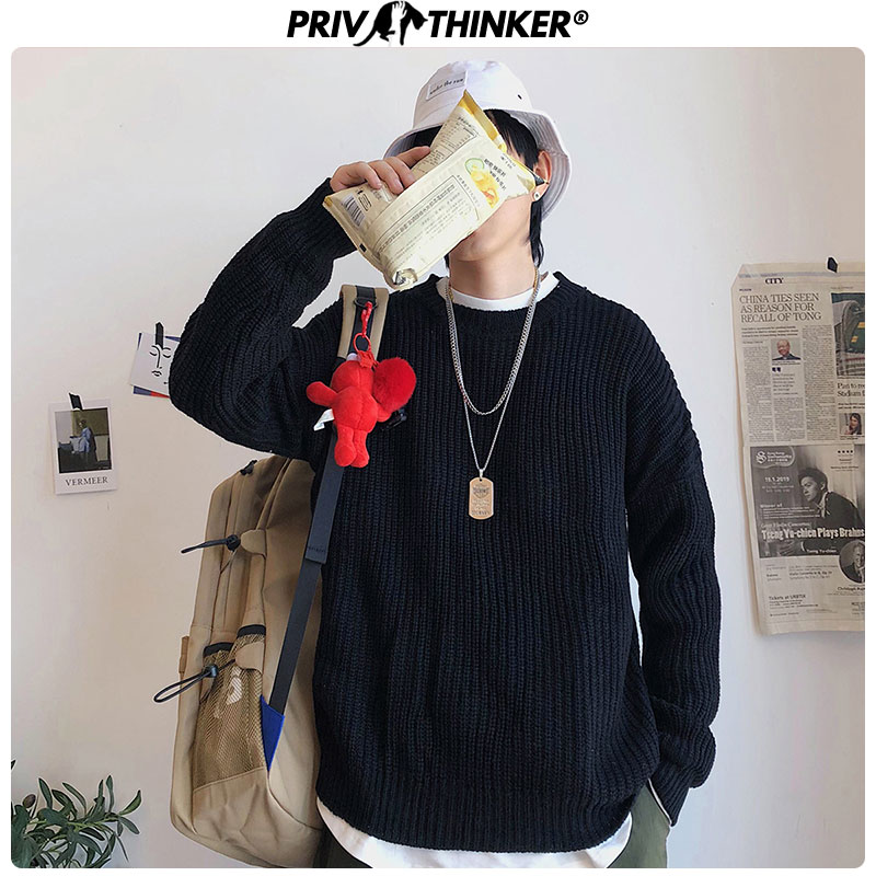 Privathinker 2020 Autumn Winter Sweater Men Pullover 9 Colors Casual Male Knitted Korean Solid Tops Streetwear Mens Sweater