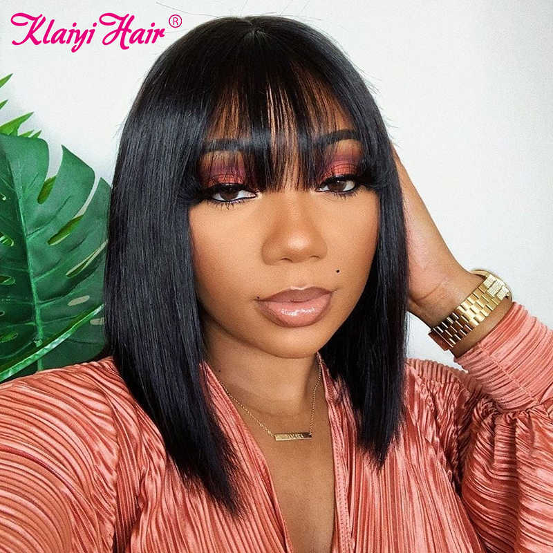 Klaiyi Hair Straight Bob Human Hair Wigs With Bang 8 14 Inch Pre Plucked Brazilian Remy Hair 13 4 Lace Front Wig 150 Density Aliexpress