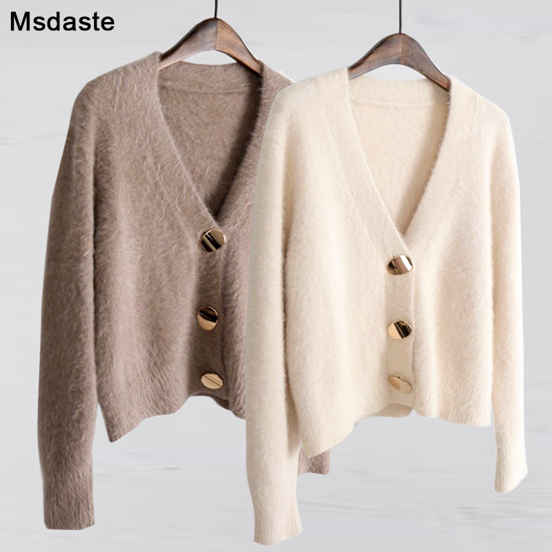 Mohair Sweater Women Cardigans 2019 Winter V-neck Soft Knitted Tops Outwear Solid White Brown Casual Woman Knitwear Sweaters