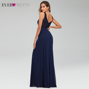 Image 2 - 우아한 해군 블루 이브닝 드레스 EP07599NB 더블 v 넥 민소매 Draped 레이스 공식 파티 가운 Abendkleider