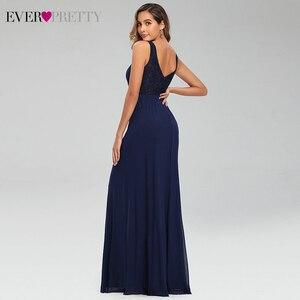 Image 2 - Elegant Navy Blue Evening Dresses Pretty EP07599NBคู่VคอแขนกุดDrapedลูกไม้อย่างเป็นทางการGowns Abendkleider
