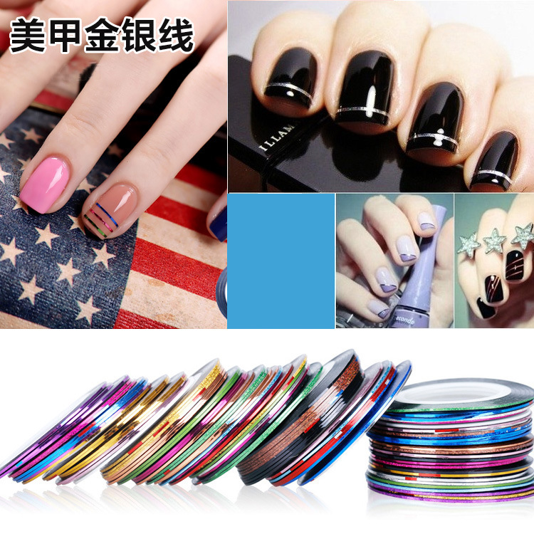 Nail Ornament Coloured Drawing Line Laser Strip Line Gum Nail Sticker 1mm30 Color Gold And Silver Thread Nail Ornament
