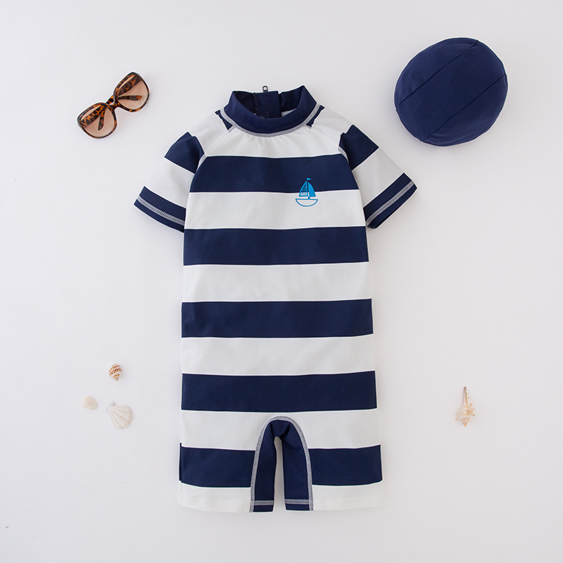 Short In Size Processing Men's One-piece Swimming Suit Blue And White Stripe Sailboat Hooded-KID'S Swimwear Hot Springs Clothing