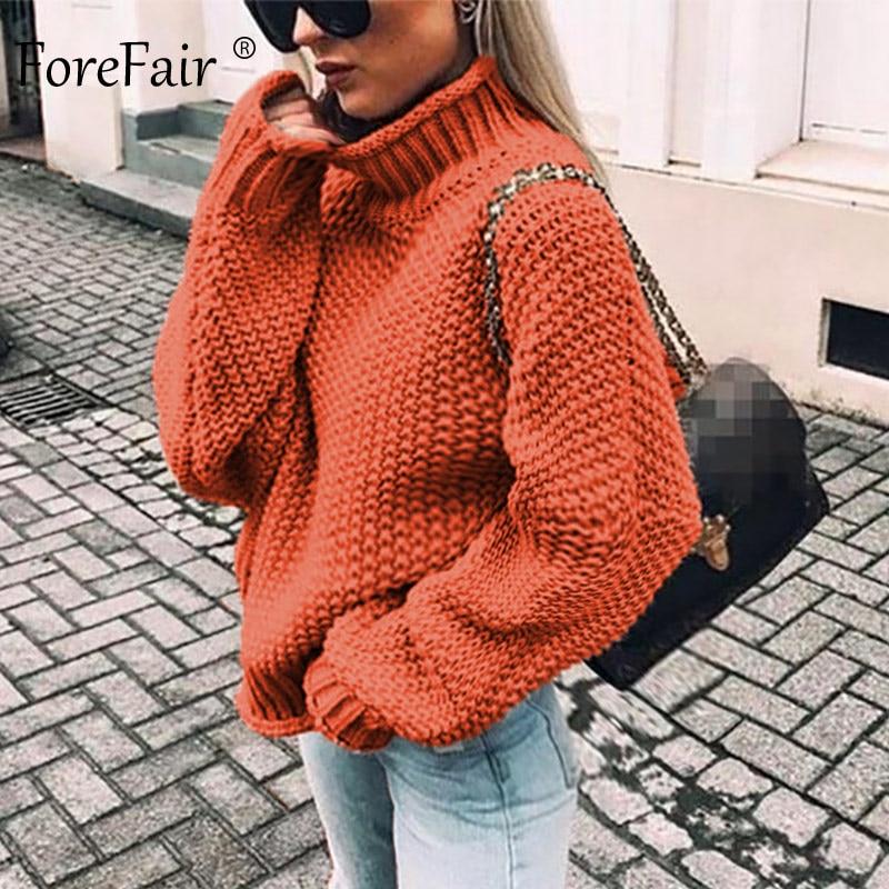 Forefair Oversize Turtleneck Knitted Sweater Winter Knitwear Plus Size Slim Solid Green Orange White Warm Casual Sweater Women