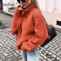 Forefair pull col roulé Oversize vêtement tricoté d'hiver grande taille mince solide vert Orange blanc chaud pull décontracté femmes