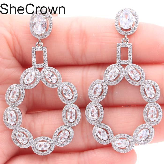 2019 New Arrival Long White Sapphire White CZ Gift For Girls Silver Earrings 52X28mm