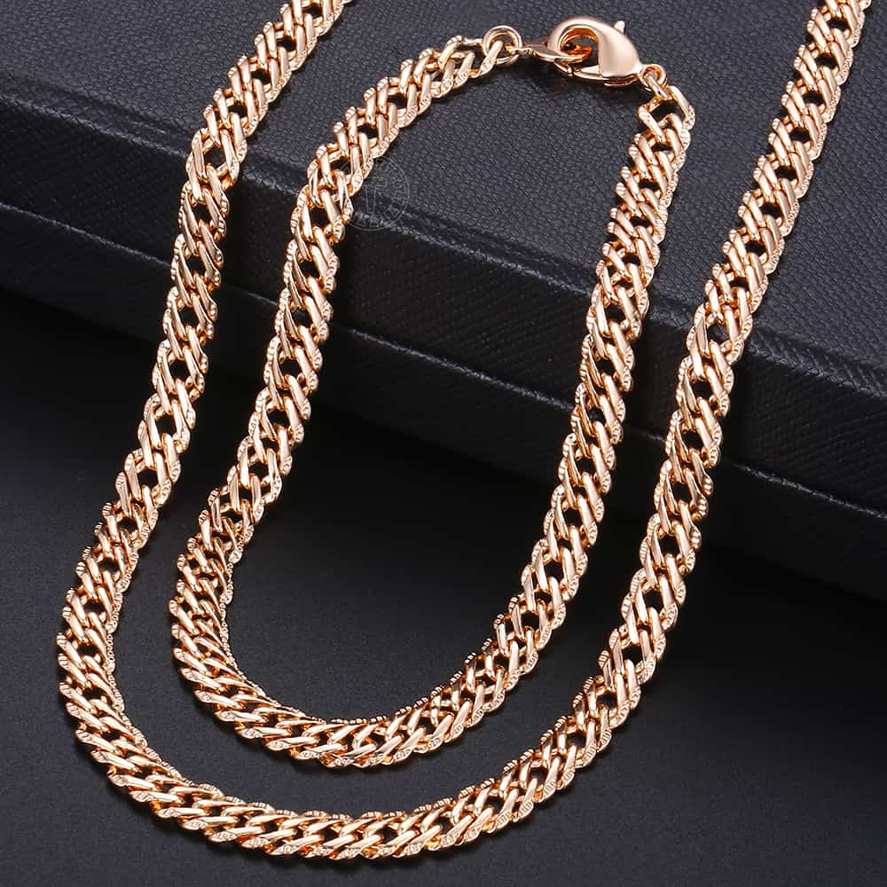 Fashion Jewelry Set for Women 585 Rose Gold Braided Foxtail Bead Link Chain Necklace Bracelet Set Wedding Jewelry Gift CS16A 1