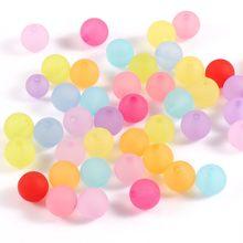Perles rondes en acrylique, 6, 8, 10mm, mixtes, polies, mates, colorées, pour travaux d'aiguille, fabrication de bijoux, collier