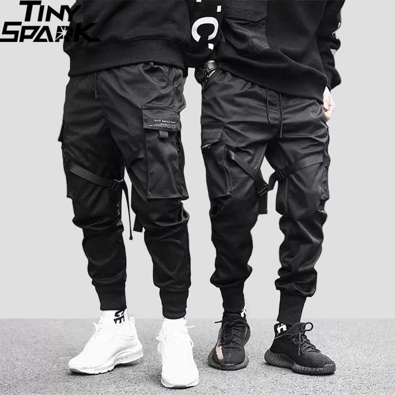 2019 Hip Hop Cargo Pants Pockets Men Streetwear Harajuku Joggers Pants HipHop Swag Ribbion Harem Pants Fashion Casual Trousers