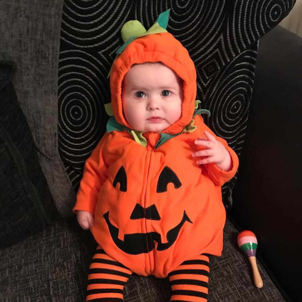 Cute Halloween Baby Romper Boys Girls Pumkin Print Halloween Zipper Hooded Romper Cotton Infant Jumpsuit Cartoon Costume @40