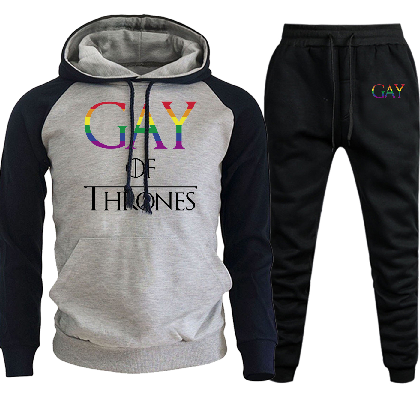 Gay Of Thrones Gay Pride Autumn Winter 2019 Harajuku Print Streetwear Raglan Men Hoodies Casula Suit Pullover+Pants 2 Piece Set