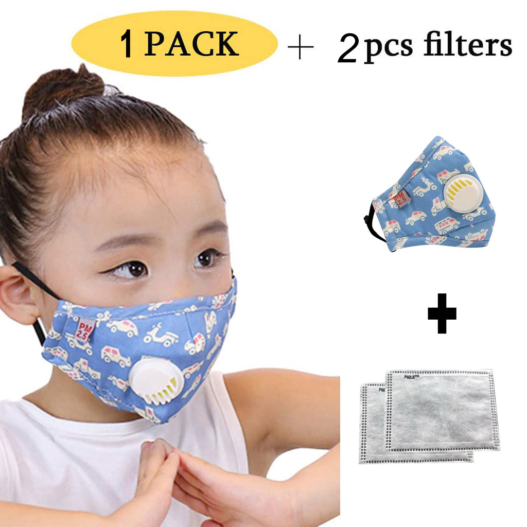 Kid Reusable Cartoon Dustproof PM2.5 Respirator Cover Masks 1PC Mask+2PC Filter Protection Breathable Respirator Mascarillas