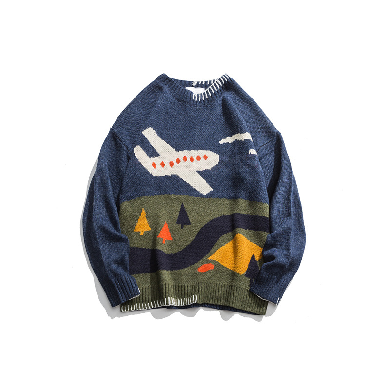 Japanese Harajuku Knitted Color Block Pilot Sweater For Men And Women Unisex Knit Airplane Pilot Pullover Jumper Plus Size