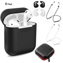 HiMISS 6 in 1 Silicone Case Cover Set For Airpods Accessories Watch Band Holder Strap for Apple AirPods Wireless Earphones(China)