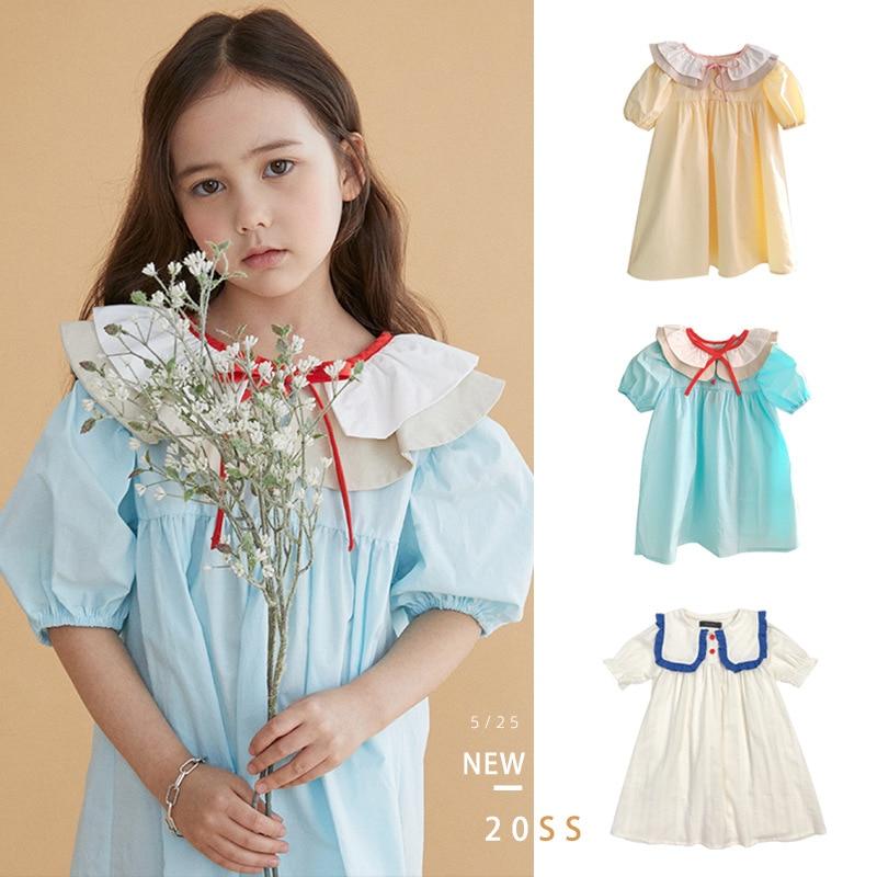 Summer 2021 Girls Dresses Cute Baby Collar Dress Girl Navy Collar Color Matching Bubble Sleeve Summer Dress Kids Clothes