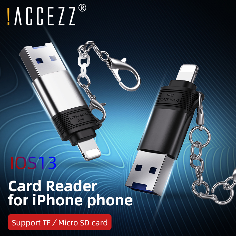 !ACCEZZ TF/Micro SD Card Reader For Apple IPhone 11 Pro X XS Max 8 7 6 6s SE Plus IOS13 Memory Cards Reader 8 Pin To USB Adapter