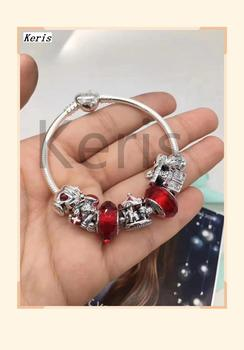 High Quality Copy 1:1 100%925 Pure Silver New 2019 Charming Glass Beads Snowman Teacup Pattern String Ornaments Bracelet Free Pa