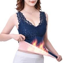 Warm-Vest Underwear V-Neck Lace Elifashion Sexy Women Velvet Plus with Bra-Base Thickening