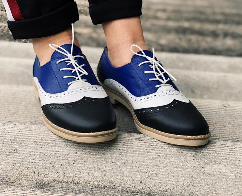 Plus Size 34-43 Women Oxfords Flats Shoes Vintage Color Block Brogues Shoes Woman British Carved Laces Student Lady Oxford Shoes (4)