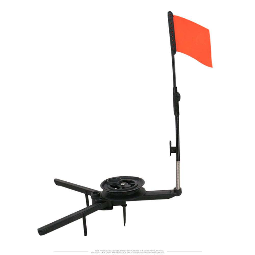 DEUKIO Winter Ice Fishing Pole Supports Stand Fishing Rods Folding Ice Fishing Rod Holder Small Triangle Bracket Bring Red Flag