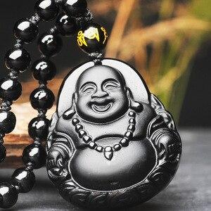 Мужское ожерелье кулон черный обсидиан Смеющийся Будда горшок живот Гуаньинь кулон Бесплатная цепь подарок для мужчин женщин хорошее Нефр...